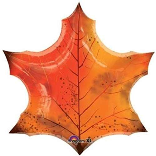 hersrfv home Orange Maple Leaf Shape 25 Inch Foil Balloon Fall Autumn Thanksgiving Halloween