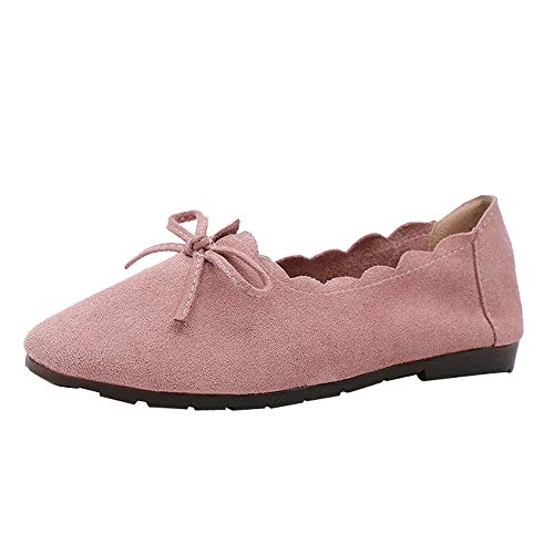 Sunmoot Lace Up Peas Boat Single Shoes Women Suede Bowknot Round Toe Flat Ankle Boots