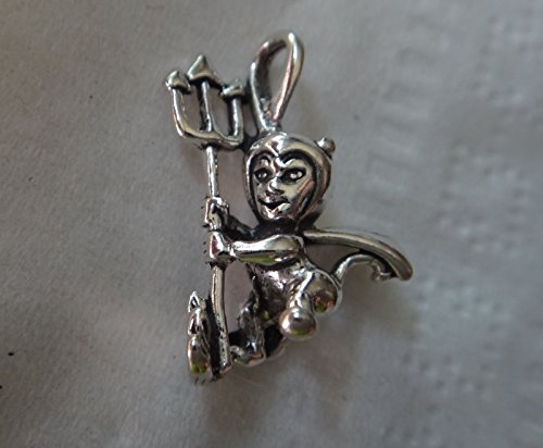 Sterling Silver 3D 15x20mm Halloween Devil Costume Pitchfork Charm Jewelry Making Supply, Pendant, Charms, Bracelet, DIY Crafting by Wholesale Charms -