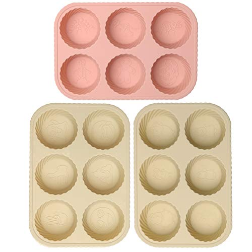 Silicone Mini Bakeware Set - Silicone Mold 3 Pack, Mini Bakeware 6-Cavity Muffin Pan Cupcake Set, Ice Cream Silicone Brioche Molds Soap Mold, Ice Cube Trays with 18 Different Patterns, 8.1 X 5.5 Inch