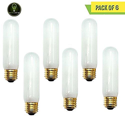 Frost Tubular Halogen Light Bulb - Perlite Lighting (Pack of 6) 40T10F/130 40-Watt T10 Tubular Frost Medium E26 Base 130-Volt Light Bulb