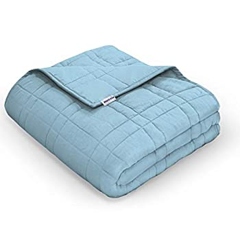 Image of Nuzzie Weighted Blanket [New 2020] - 20 lbs Queen/Full 60x80 for Teens and Adults - 100% Cotton - Premium Hypoallergenic Glass Beads - Modern Design with Double Stitching - Designed in USA - Blue Nuzzie B07WR17M78 Weighted Blankets