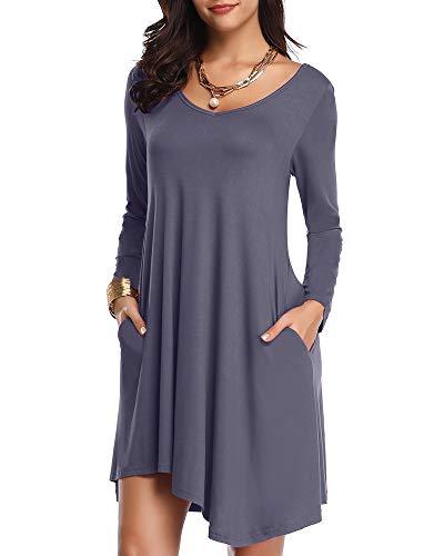 JollieLovin Women's Long Sleeve Pockets Loose T-Shirt Dress Asymmetrical Hem (Deep Gray, 2X)