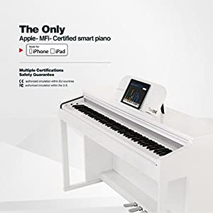 The ONE Smart Piano Digital Piano 88-Key Hammer Action Upright Piano, Classic White by The ONE Smart Piano
