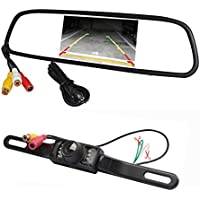 Backup camera License Plate car camera Rear View Camera IR 7 LED With 4.3 Color LCD Car mirror monitor BENTOO