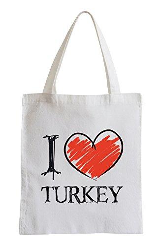 Amo la Turchia Fun sacchetto di iuta