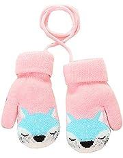 Cute Fox Toddler Gloves Boys Girls Winter Fleece Lined Mittens Kids Winter Warm Thicken Knit Gloves with String Pink 02