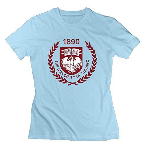 QTHOO Women's O Neck The University of Chicago Established 1890 Short Sleeve T Shirt -