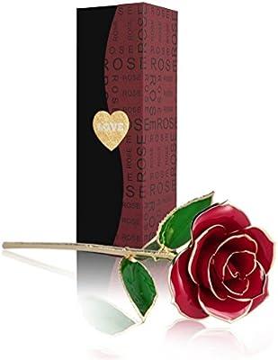 Rosa 24K , Rosa Eterna Flores Chapadas en Oro con Caja de Regalo para el Día de San Valentín Día de la Madre Navidad Cumpleaños Dorado-Rojo