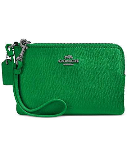 COACH Women's Crossgrain Leather Small Wristlet Dk/Grass Green Handbag by Coach