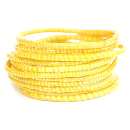 (10 White with Yellow Recycled Flip Flop Bracelets Hand Made in Mali, West)