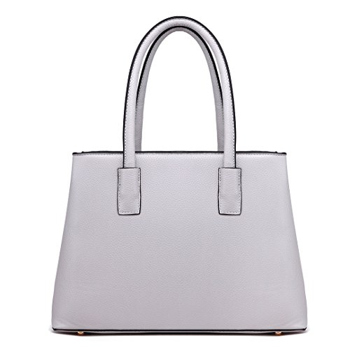 Ladies Miss Lulu Tote 1748 Women Quality Light Shoulder for Skin Leather Litchi Design Stylish Handbag Grey Pu Top xrtqZwvrd