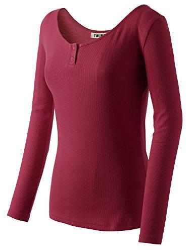 Doublju Women Comfortable Slim Fit 3/4 Sleeve Plus Size T-Shirt BURGUNDY,XL