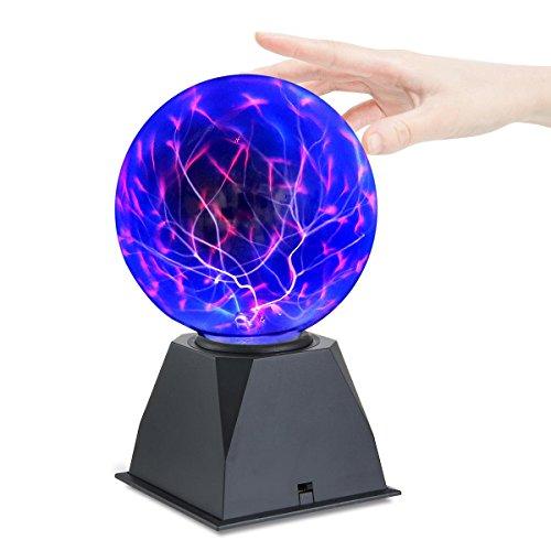 "KOBWA Plasma Ball Light, 6"" Touch Responsive Sound Sensitive Lightning Lamp Tesla Energy Coil Magic Plasma Ball For Kid, Science Educational,Xmas Presents"