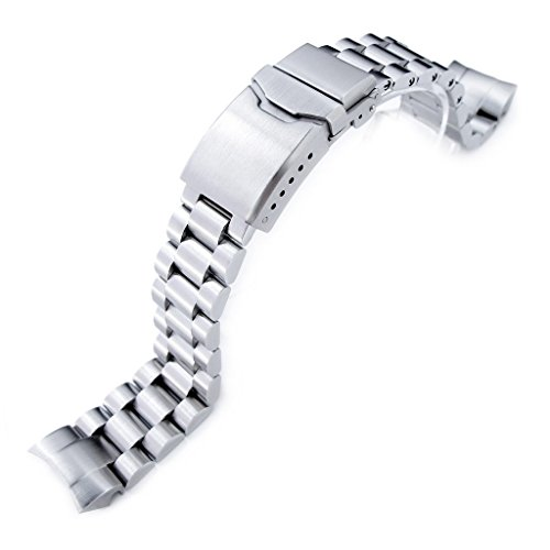 22mm Endmill 316L SS Watch Bracelet for Orient Mako II & Ray II, Chamfer Clasp Brushed