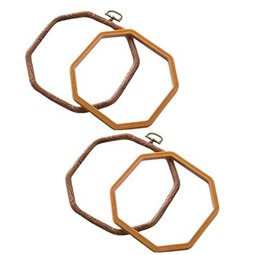 Beautymei 2 Packs Embroidery Hoops Cross Stitch Embroidery Octagon Set for Handy Art Craft Sewing Photo Frame - Imitated Wood from Beautymei