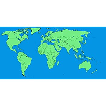 Amazon laminated 48x24 poster a large blank world map with laminated 48x24 poster a large blank world map with oceans marked in blue edited gumiabroncs Choice Image