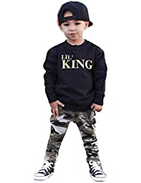 HOT SALE!!1-7T Baby Boy Letter T shirt Tops + Camouflage Pants Clothes - Toddler Kids Outfits Set (Black, 7T)