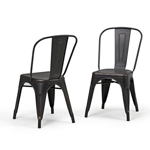 Simpli Home Fletcher Metal Dining Side Chair, Distressed Black (Set of 2)