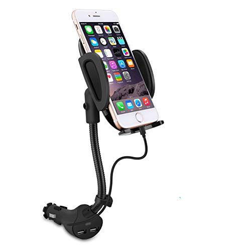Phone Built In Gps - Te-Rich Gooseneck Cigarette Lighter Phone Holder Power Outlet Car Mount Charger with Built-in Charging Cable for iPhone X 8 7 6S 6 5 SE 5S 5C