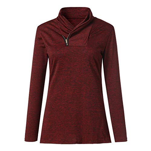 (VEZAD Spring Blouse Women Long-Sleeved T Shirts Zipper Pullover Casual Sweatshirt)