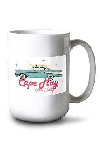 Lantern Press Cape May, New Jersey - Retro Chevy (15oz White Ceramic - Chevy Framed