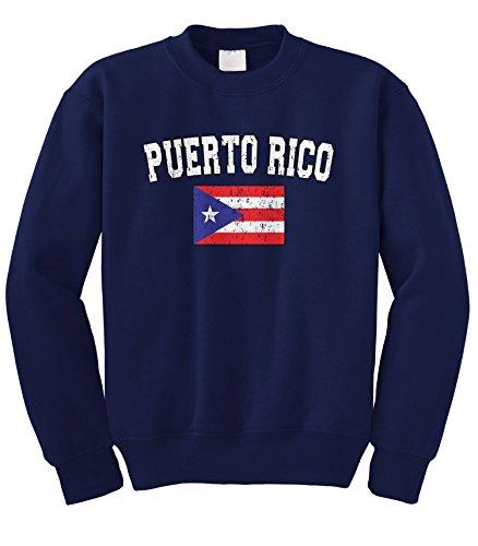 fan products of Cybertela Faded Distressed Puerto Rico Flag Crewneck Sweatshirt (Navy Blue, Large)