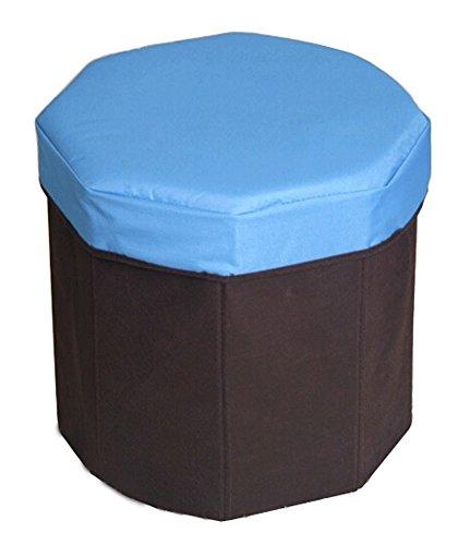 Storage Ottoman Collapsible Foldable Kids' Round Storag Ottoman BLUE