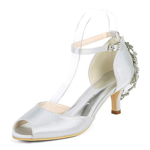 Alti Fibbia Punta 6cm Tacchi Donna Avorio Grande Aperta Scarpe Silver Da tacco yc Prom L Sposa Aafqg8w