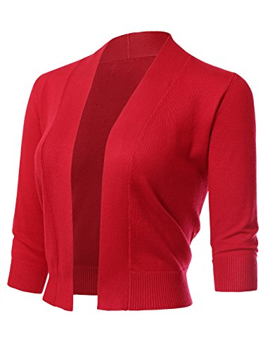 ARC Studio Women's Classic 3/4 Sleeve Open Front Cropped Cardigans (S-XL) M Red