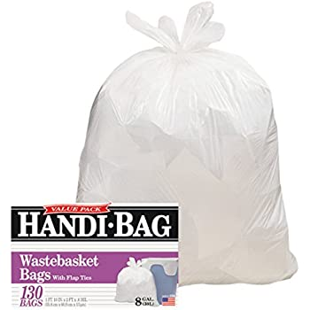 Handi-Bag HAB6FW130 Super Value Pack, 8gal, 0.6mil, 22 x 24, White (Box of 130)