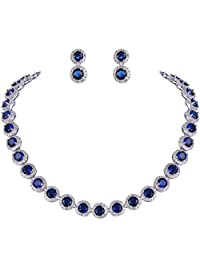 Ever Faith Silver-Tone Round Cubic Zirconia Birthstone Row Necklace Earrings Set