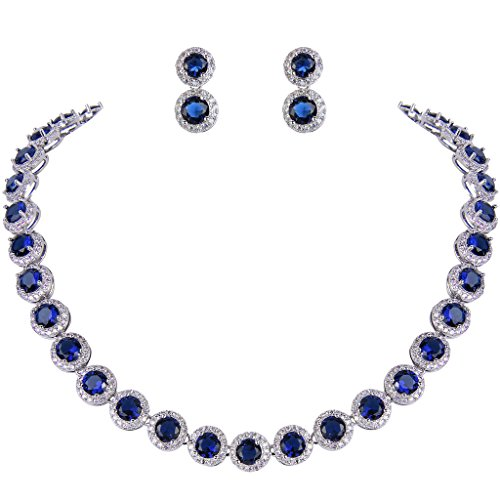 Tone Round Earrings - EVER FAITH Silver-Tone Round Cubic Zirconia September Birthstone Row Necklace Earrings Set Blue