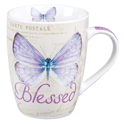 Blessed Butterfly Mug - Botanic Purple Butterfly Coffee Mug w/Jeremiah 17:7, Bible Verse Mug for Women and Men - Inspirational Coffee Cup and Christian Gifts (12-ounce Ceramic Cup) (Cheap Mothers Day Gift Ideas For Church)