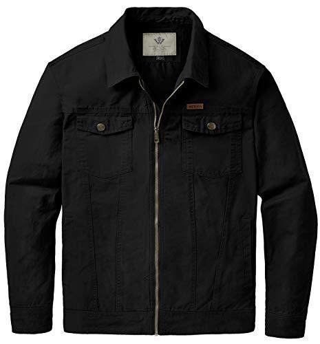 (WenVen Men's Miltary Lightweight Muti Pockets Cotton Jackets(B-Black,S))
