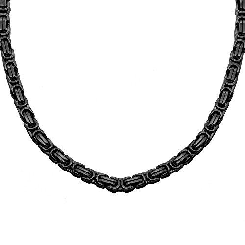 Acier Inoxydable Massive Bracelet Pendentif Collier Chenille Noir Homme Bijoux Chaîne Byzantine Biker Hip Hop 22 - 120cm