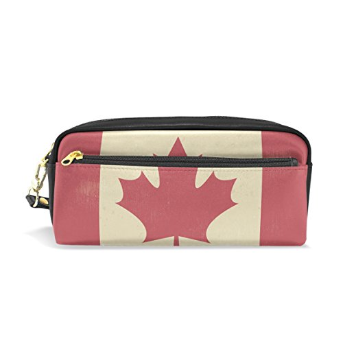 Blue Viper Vintage Flag Of Canada PU Leather Pen Pencil Case Pouch Cosmetic Makeup Bag for School Office Travel Multifunction Storage - Canada Personalization