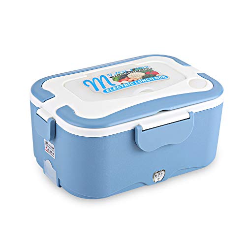 Portable Car House Electric Heating Lunch Mini Box Bento Food Warmer Container Thermostatic Traveling Catering Buffet(12V-Blue)