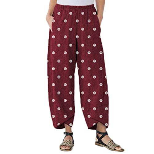 JOFOW Harem Pants Womens Polka Dots Print Bloomers Two Tone Loose Long Slit Cuff Casual High Waist Fashion Saggy Trousers (XL,Red) (Best Price Mens Aftershave)