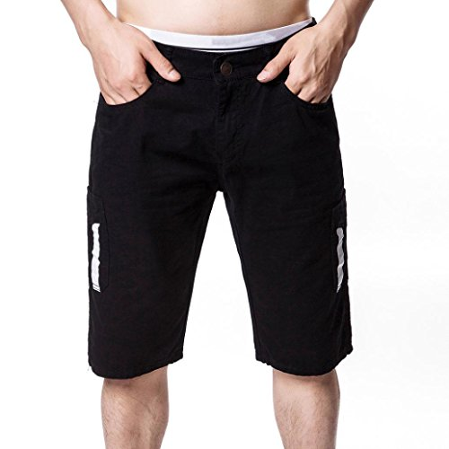 - Men's Pants - Limsea Multi-Pocket Versatile Twill Cargo Capri Shorts Active Normal Waist Loose Black