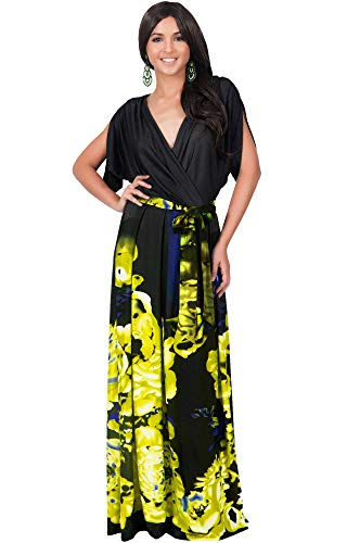 - KOH KOH Womens Long V-Neck Short Sleeve Floral Print Elegant Flattering Flowy Formal Evening Cocktail Maternity Sun Gown Gowns Maxi Dress Dresses, Black and Yellow L 12-14 (1)