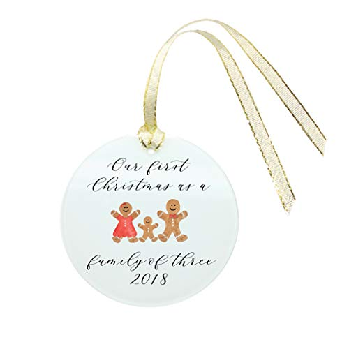 Savor First Christmas as a Family of Three Ornament 2018-Handwritten Calligraphy Original Watercolor on Frosted Glass with Gold Ribbon-Baby Keepsake-Baby's First Wrapped (Gingerbread Family) ()