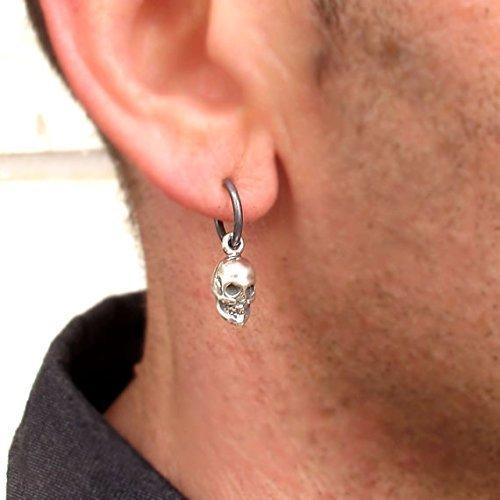 3654ba96d Amazon.com: Skull Earring for Men - Punk Earring - Black Hoop Earring -  Unisex Jewelry - Gothic earrings - Mens Jewelry - Skull Jewelry - Gothic  Jewelry: ...