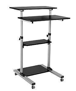 ProHT Mobile Height Adjustable Sit-Stand Desk,Ergonomic Stand Up Laptop Desk Rolling Computer Cart