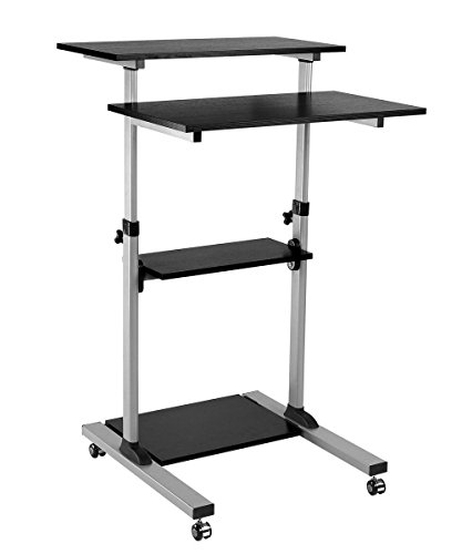 ProHT Mobile Height Adjustable Sit-Stand Desk Cart (05467AA),Ergonomic Stand Up Laptop Desk Rolling Computer Cart/Presentation Cart with 4 Platforms, Max.Load Capacity 88lbs,CARB Certified by ProHT