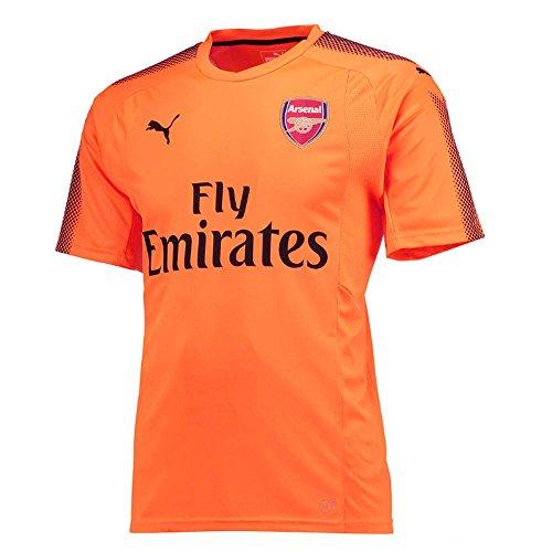 PUMA 2017-2018 Arsenal Away SS Goalkeeper Football Soccer T-Shirt Jersey (Orange) - Kids