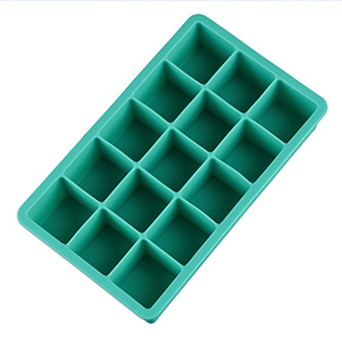 Otedes 1 Pack Silicone Ice Cube Tray Molds Candy Mold Cake Mold Chocolate Mold, 15 Cavity, (Random color)