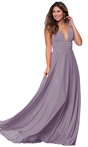 Lianai Women's Ruched Bodice Bridesmaid Dress Long Chiffon Formal Wedding Guest Gown Wisteria,4
