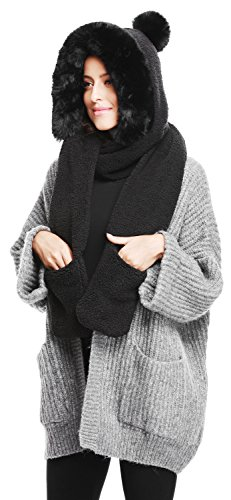 Bellady Winter Warm Women Hoodie Gloves Pocket Earflap Hat Long Scarf Shawl,Black