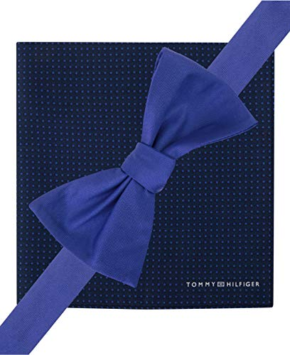 Tommy Hilfiger Solid Bow Tie & Dot-Print Pocket Square Set, Blue, OS (Tommy Hilfiger Bow Tie And Pocket Square Set)